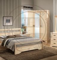 Спальня IREN (кровать 160x200, 2 тумбы прикр., комод с зеркалом, шкаф 3-х дверный) Antique white